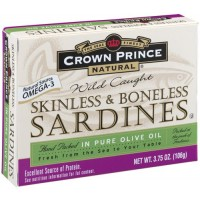 Crown Prince Natural Skinless &amp; Boneless Sardines in Pure Olive Oil, 3.75-Ounce Cans (Pack of 12)